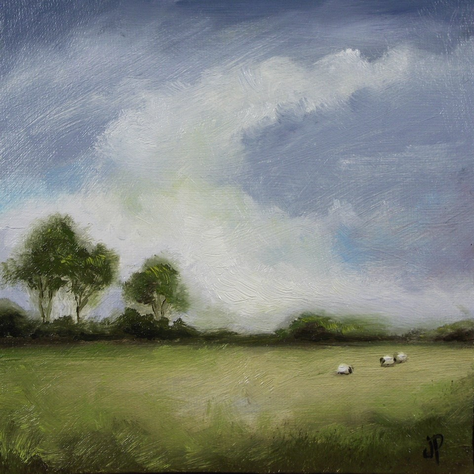 """Field with sheep"" original fine art by Jane Palmer"