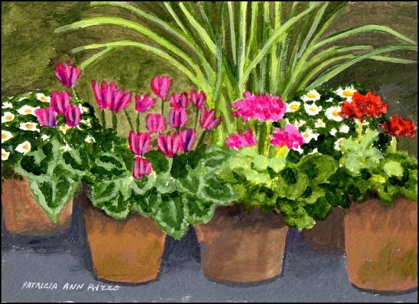 """Plants Under My Patio Table"" original fine art by Patricia Ann Rizzo"