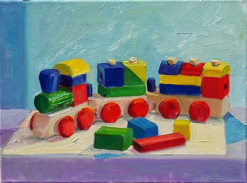 """Wooden Train,still life,oil on canvas,9x12,price$400"" original fine art by Joy Olney"