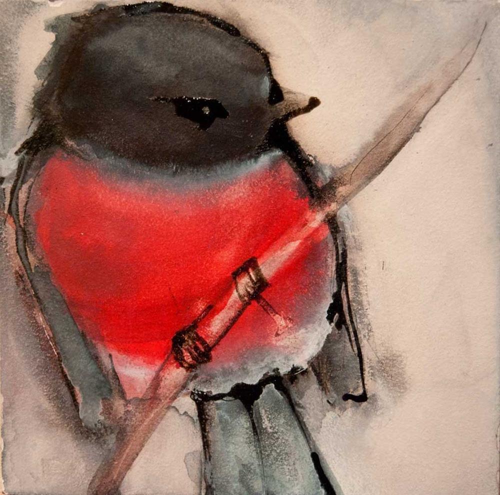 """Pink Robin"" original fine art by Jani Freimann"
