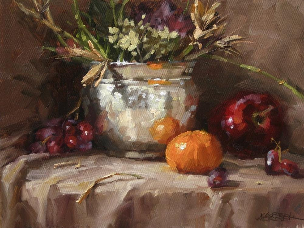 """""""Still Life With Hammered Silver"""" original fine art by Karen Werner"""