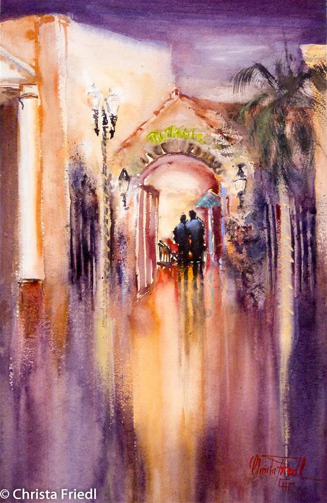 """nocturne painting in Town Down Punta Gorda"" original fine art by Christa Friedl"