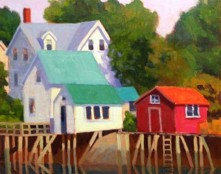 """""""Cozy Harbor Inlet"""" original fine art by Bobbi Heath"""