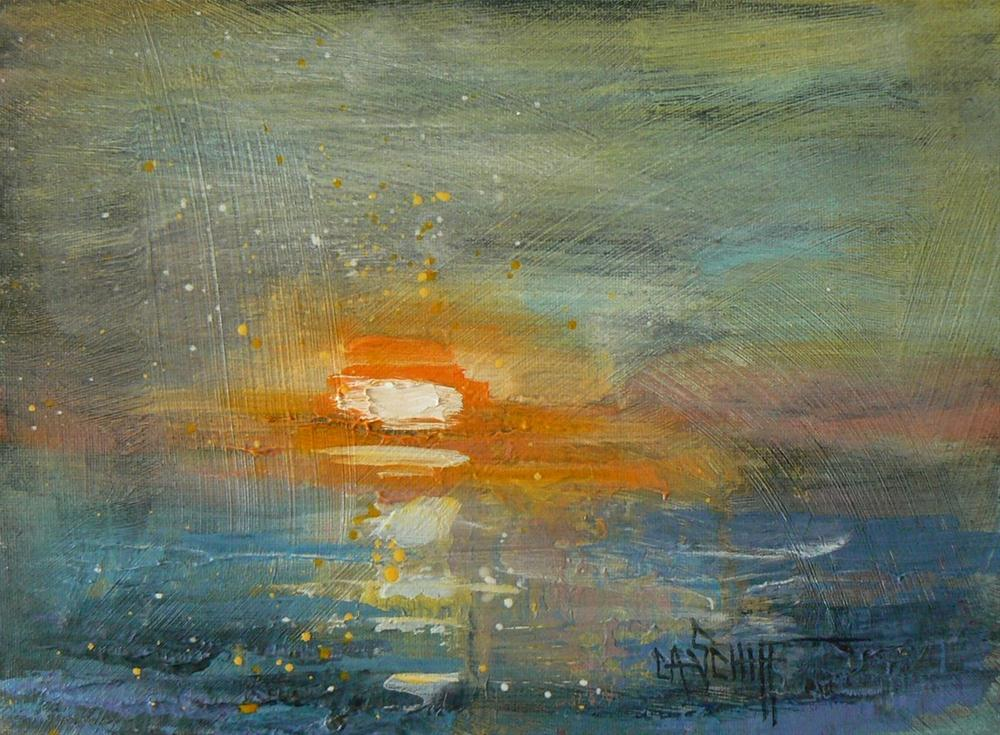 """""""Abstract Seascape, Daily Painting, Seascape Sunrise"""" original fine art by Carol Schiff"""