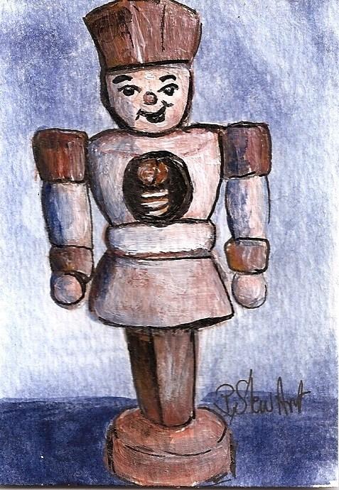 """ACEO Nutcracker Painting Plain and Simple Wooden Nut Guy SFA Penny StewArt"" original fine art by Penny Lee StewArt"