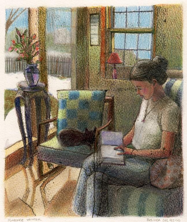 """Trace Monotype: Florence Winter (& a new monotype tutorial video)"" original fine art by Belinda Del Pesco"