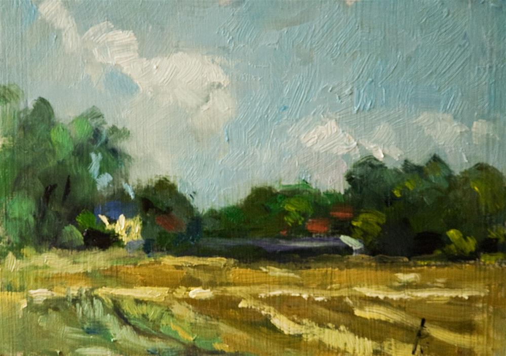 """Farmland near Climping"" original fine art by Andre Pallat"