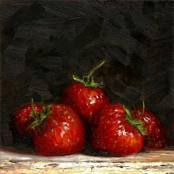 """New season's strawberries"" original fine art by Peter J Sandford"
