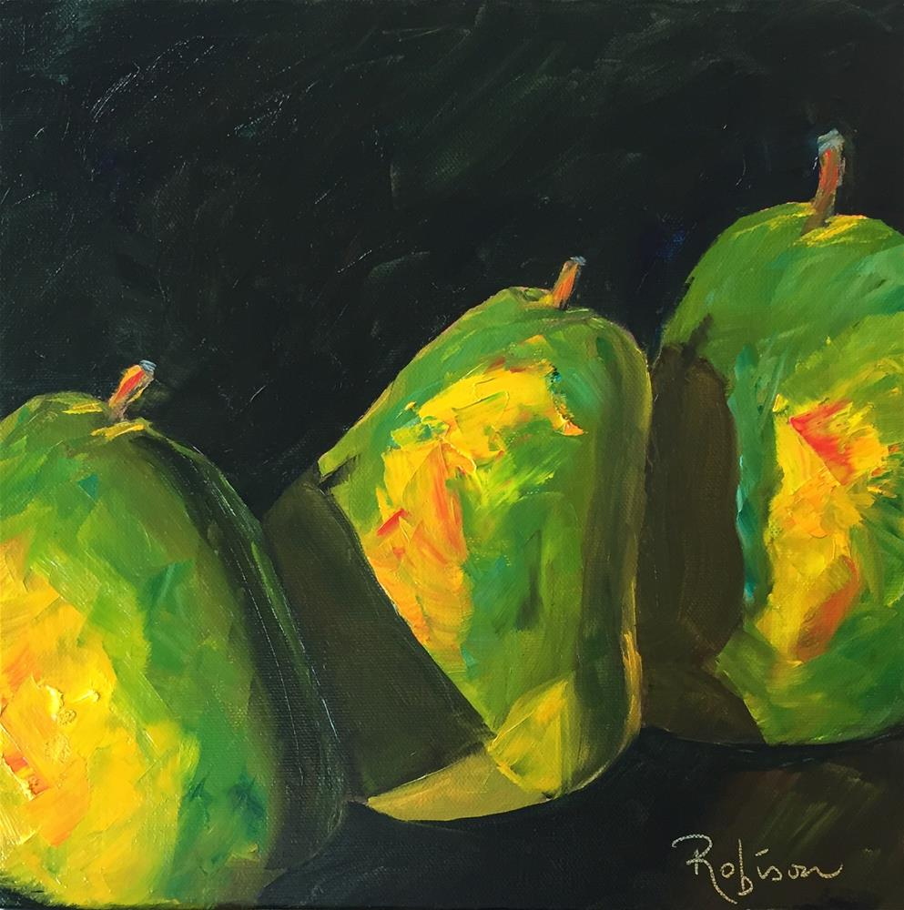 """Green pear abstract"" original fine art by Renee Robison"
