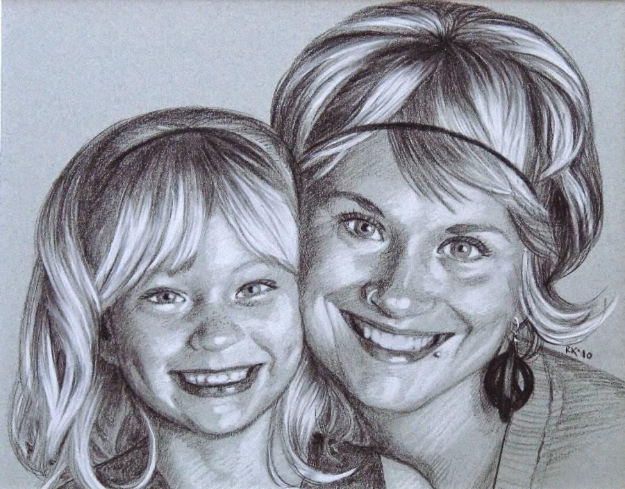 """Daughter & Mother - a portrait commission - day 25"" original fine art by Rita Kirkman"