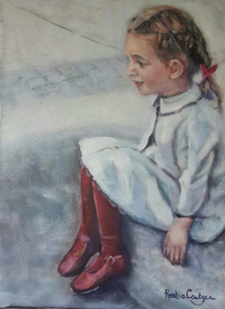 """First day  of school"" original fine art by Rentia Coetzee"