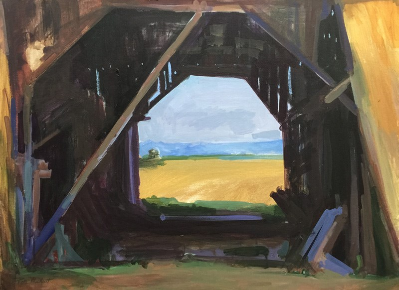 """View Through the Barn"" original fine art by Patti McNutt"