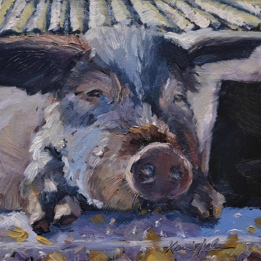 """This Little Piggy"" original fine art by Karen Weber"