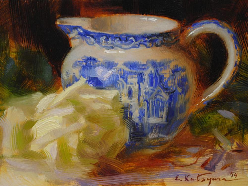 """Blue Jug and Rose"" original fine art by Elena Katsyura"