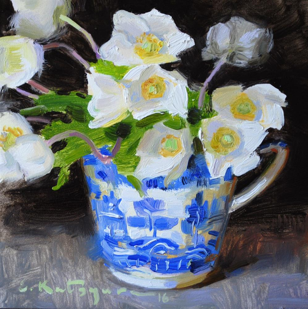 """Blue Cup of Flowers"" original fine art by Elena Katsyura"