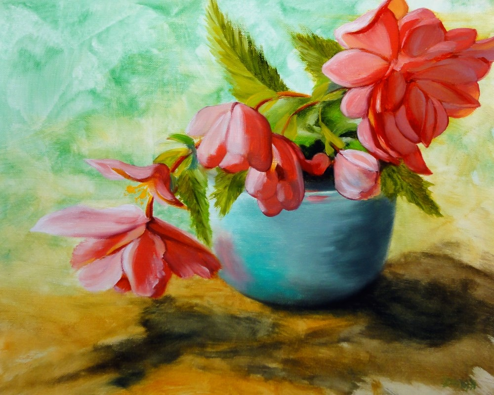 """Morning Angels, Angel Wing Begonias In A Blue Pot"" original fine art by Dalan Wells"