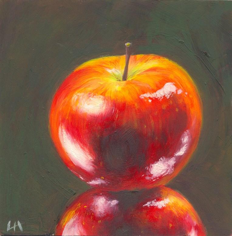 """Red Apple and Reflection"" original fine art by Hui (Hue) Li"
