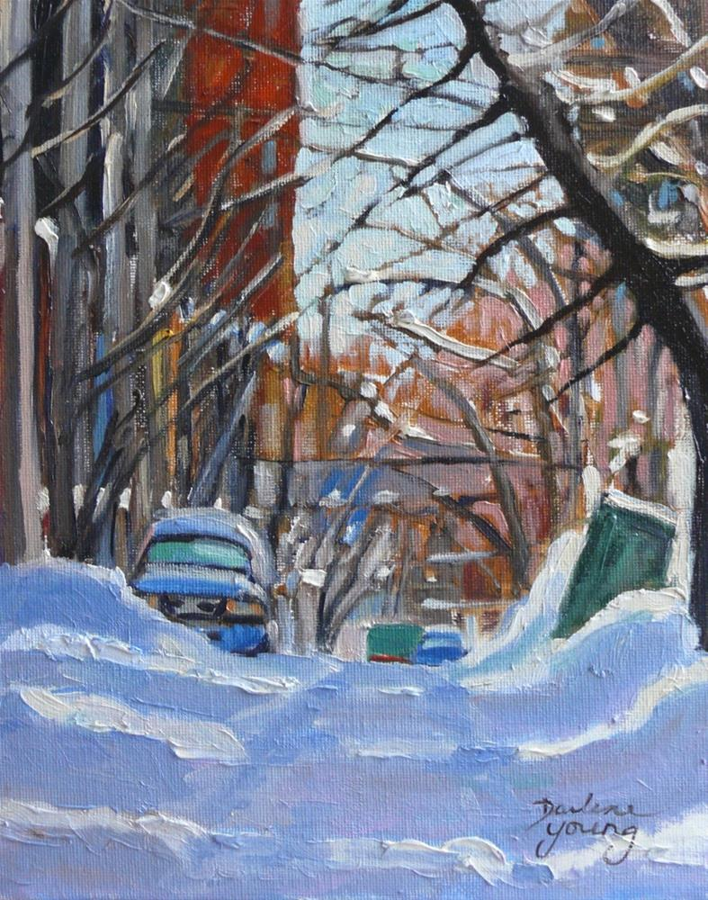 """901 Montreal Winter Scene, Lane, oil on board 8x10"" original fine art by Darlene Young"