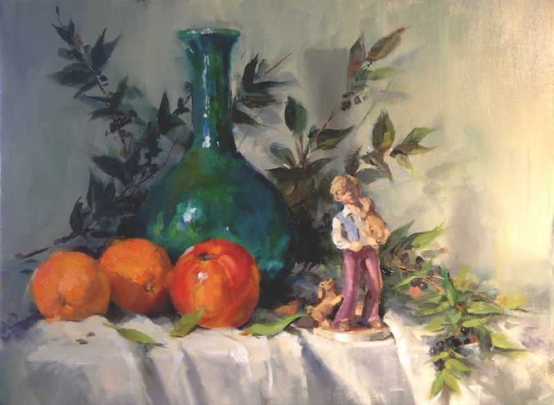 """Green Bottle with Boy and Puppies"" original fine art by Bruce Hancock"