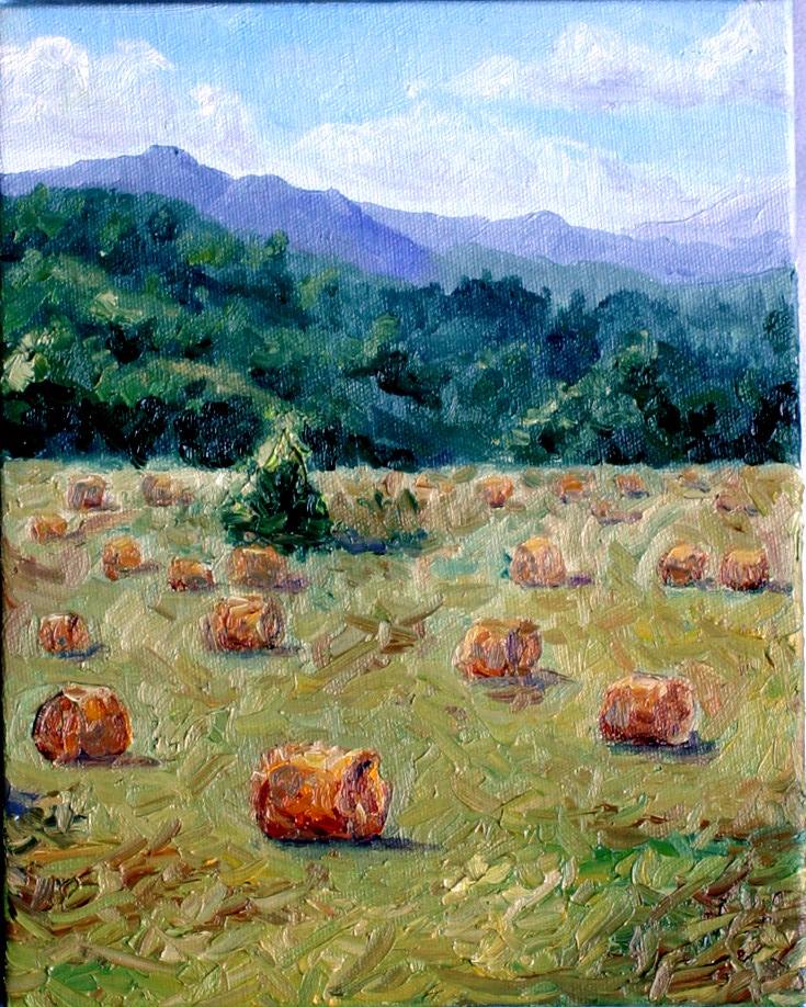 """Hay Rolls"" original fine art by Kristen Dukat"