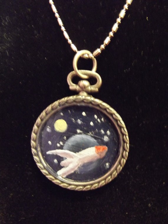 """Rocketship in Space Pendant"" original fine art by Amy VanGaasbeck"