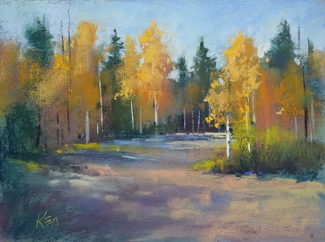 """Aspen Series Part 3 ...A Softer Approach To Painting Trees"" original fine art by Karen Margulis"