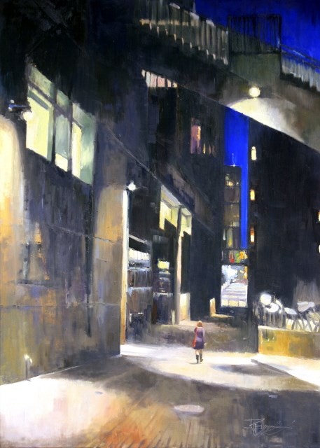 """""""Big City Seattle City oil painting by Robin Weiss"""" original fine art by Robin Weiss"""