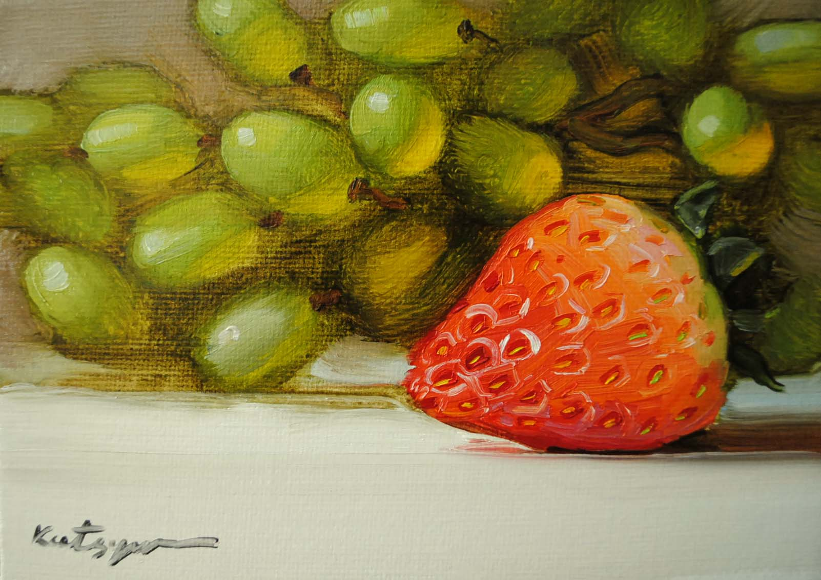 """Sunny Strawberry"" original fine art by Elena Katsyura"