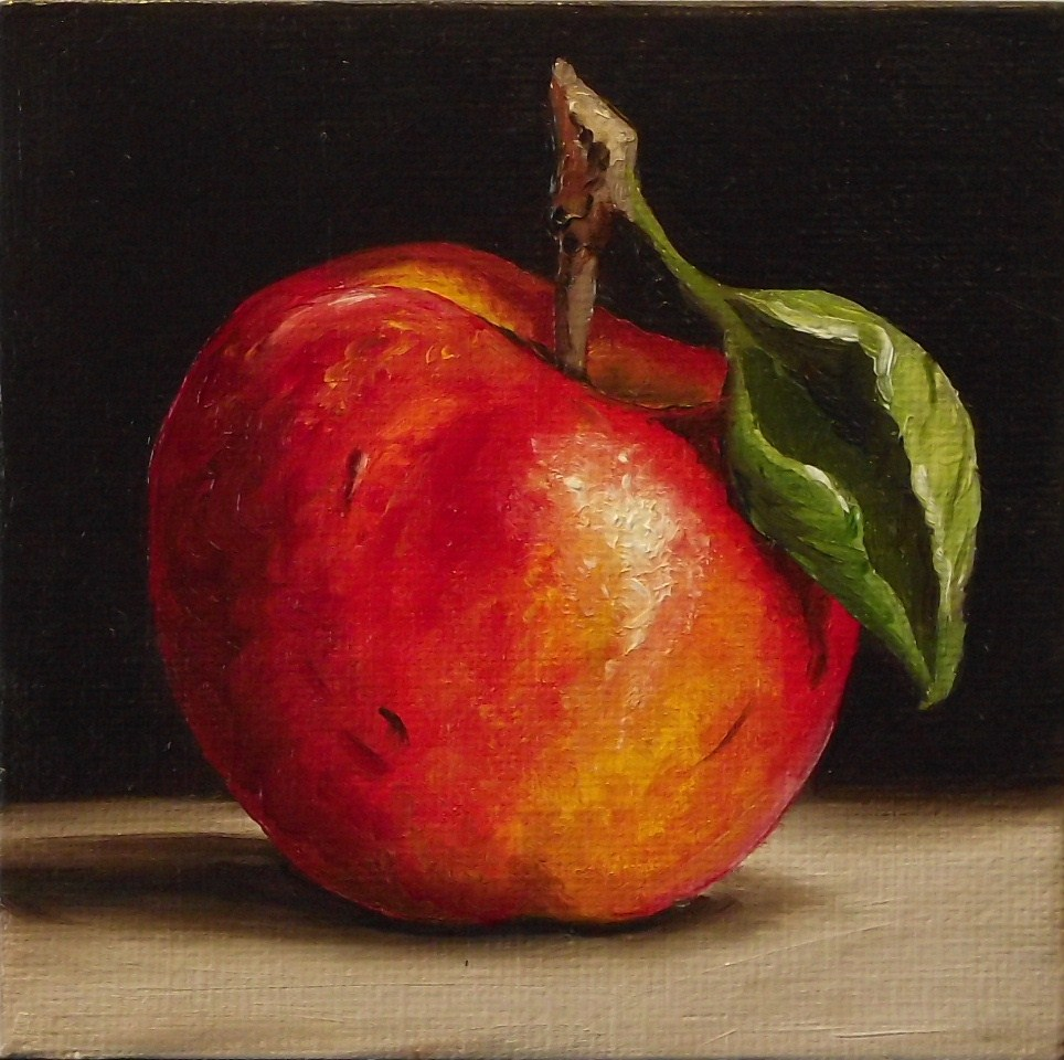 """Red Apple & Pear"" original fine art by Jane Palmer"