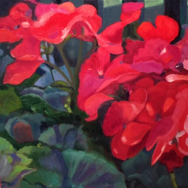 """""""Geraniums"""" original fine art by Judy Elias"""