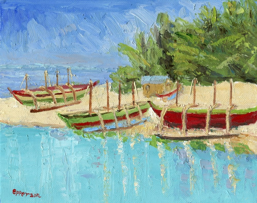 """""""Outriggers of Bolinao, Philippines"""" original fine art by Stanley Epperson"""