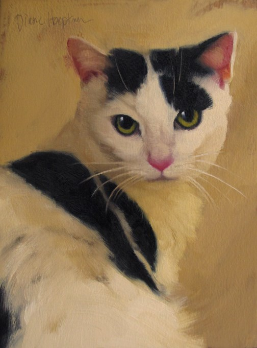 """Spot a new cat painting, also I turned 50.  Oh the horror?"" original fine art by Diane Hoeptner"