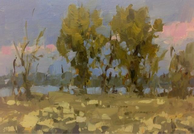 """Cottonwoods at Dusk"" original fine art by Melanie Thompson"