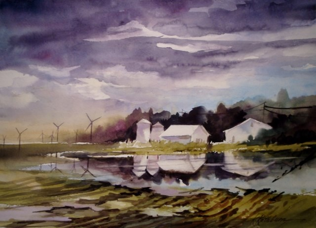 """Flooded Fields"" original fine art by Kathy Los-Rathburn"