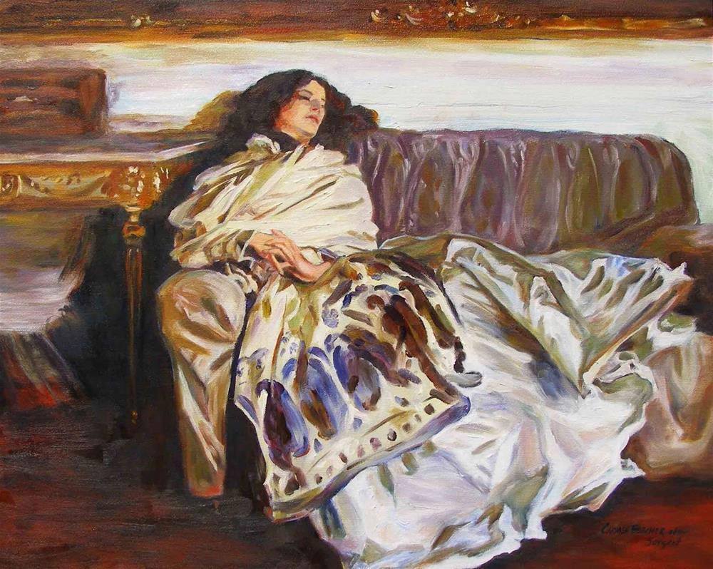 """""""Repose, 20x24 Oil on Canvas, after John Singer Sargent"""" original fine art by Carmen Beecher"""