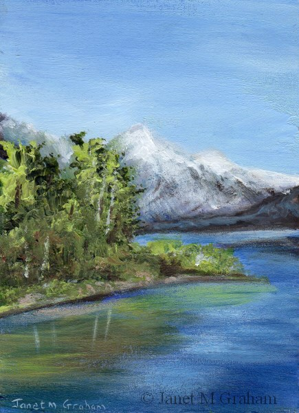 """Snow Capped Mountain ACEO"" original fine art by Janet Graham"