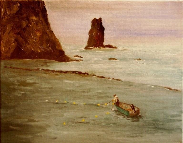 """Lone Fisherman"" original fine art by Mary Datum"