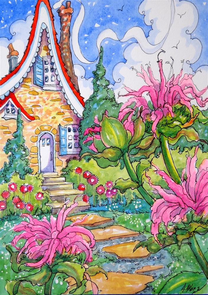"""""""Bring on the Bee Balm Weather! Storybook Cottage Series"""" original fine art by Alida Akers"""