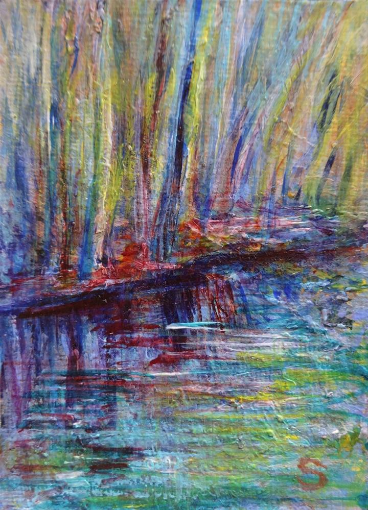 """3061 - Matted - FOREST, EARLY SPRING MORNING ACEO"" original fine art by Sea Dean"