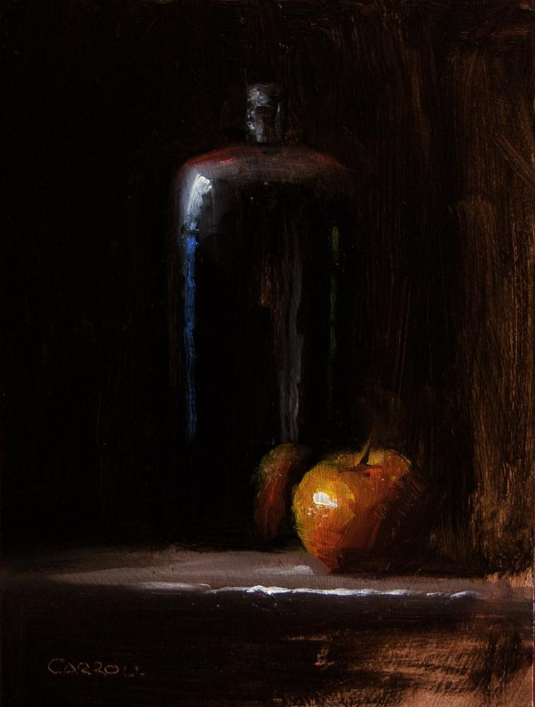 """Bottle and Apple"" original fine art by Neil Carroll"