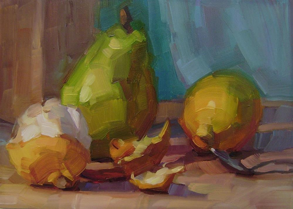 """Pear with Lemons"" original fine art by Holly Storlie"