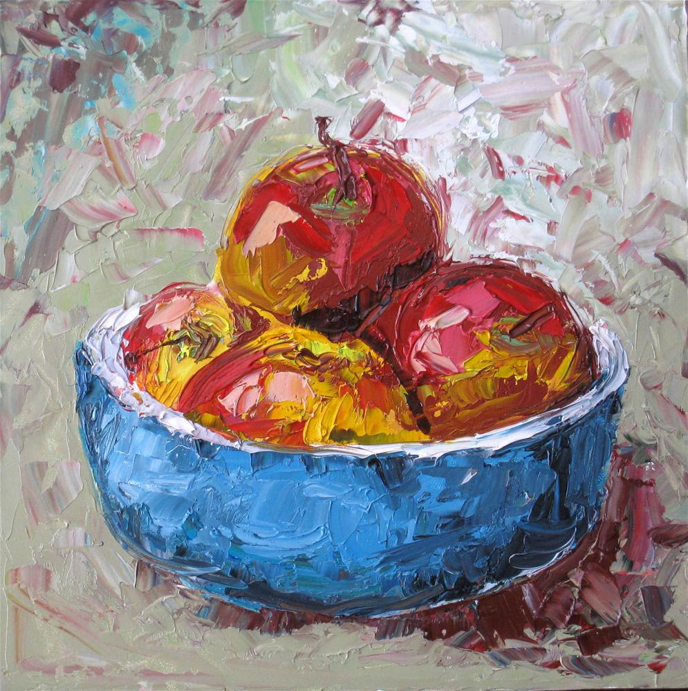 """Apples in Blue Bowl"" original fine art by Kulli Maslova"