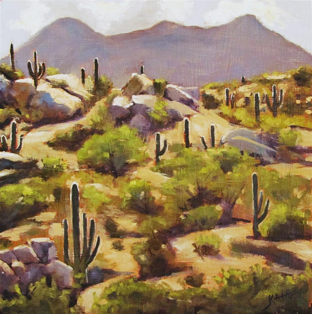 """Saguaro Hillside"" original fine art by Kaia Thomas"