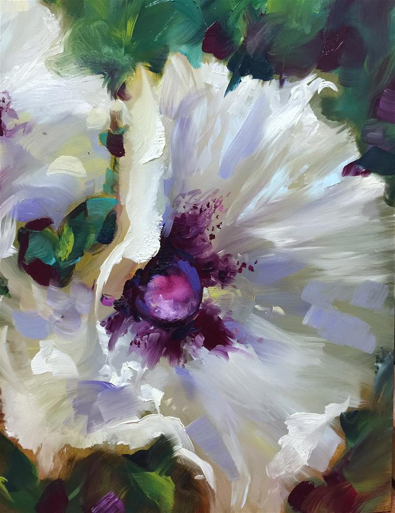"""White Wing Poppies"" original fine art by Nancy Medina"