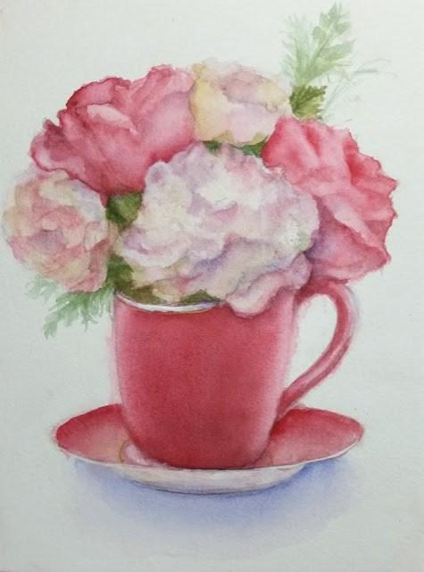 """Summer Roses In A Cup"" original fine art by Wendy Starita"