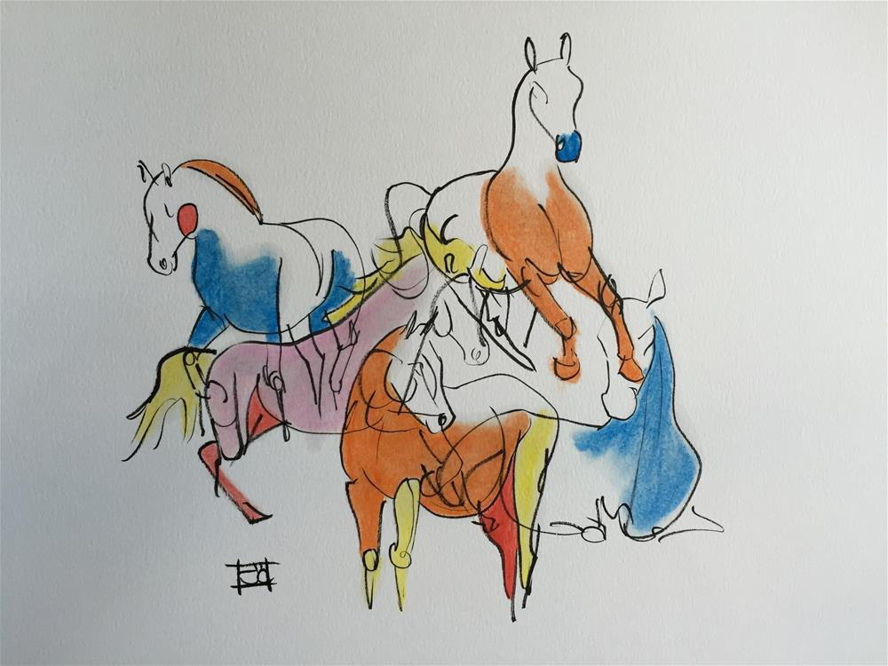 """5 horses"" original fine art by Arron McGuire"