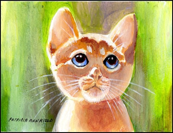 """Yellow Kitty"" original fine art by Patricia Ann Rizzo"