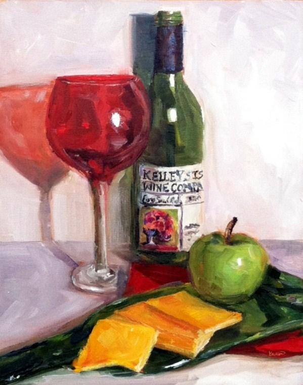 """Wine Thirty"" original fine art by Kristen Dukat"