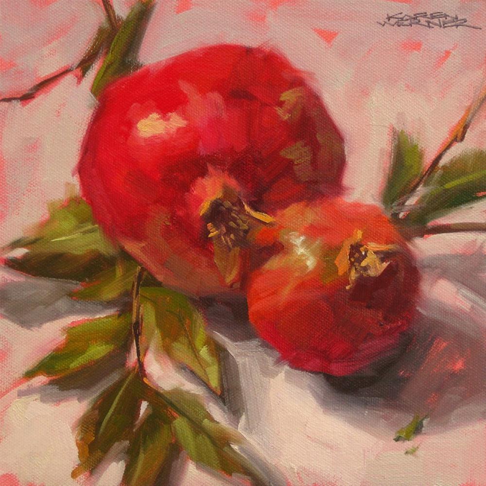 """""""Pomegranates"""" original fine art by Karen Werner"""