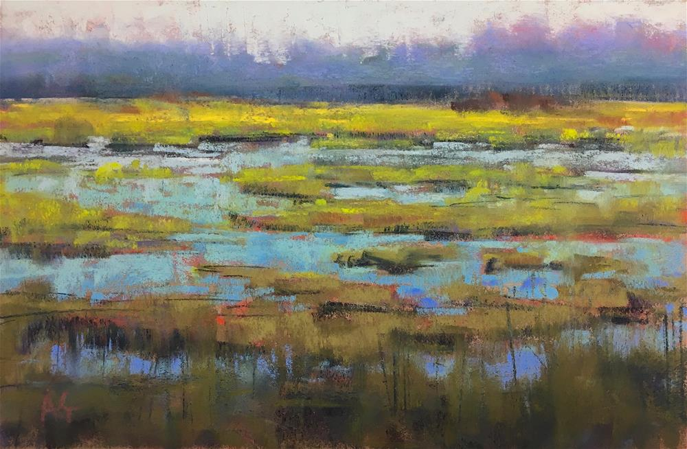 """Green marsh SALE"" original fine art by Alejandra Gos"